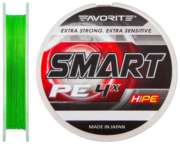 Шнур Favorite Smart PE 4x #0.5/0.117мм 3.6кг салат. 150m.