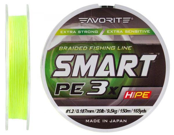 Шнур Favorite Smart PE 3x 150m #0.8 Fluo yellow