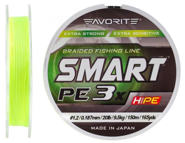 Шнур Favorite Smart PE 3x 150m #0.4 Fluo yellow
