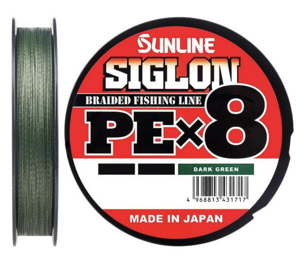 07 Шнур Sunline Siglon PE x8 6lb темно-зеленый 150m.